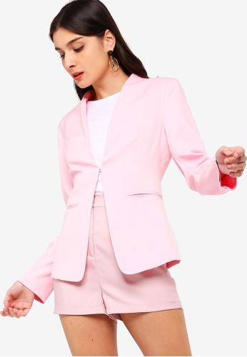ZALORA pink Open Blazer D8C18AA3DFC18BGS_1