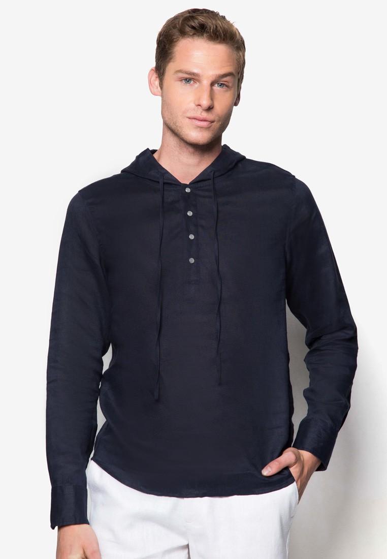 Nt -Long Sleeve Linen Shirt With Hood