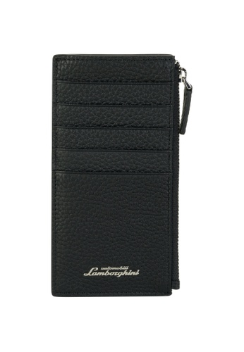 LAMBORGHINI black Automobili Lamborghini® Script Black Calf Leather Wallet and Credit Cards holder 9E894AC0EDF126GS_1