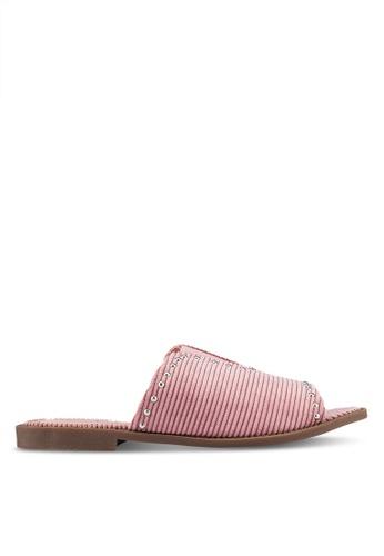 Something Borrowed pink Studded Sliders 07C79SH8EFBF59GS_1