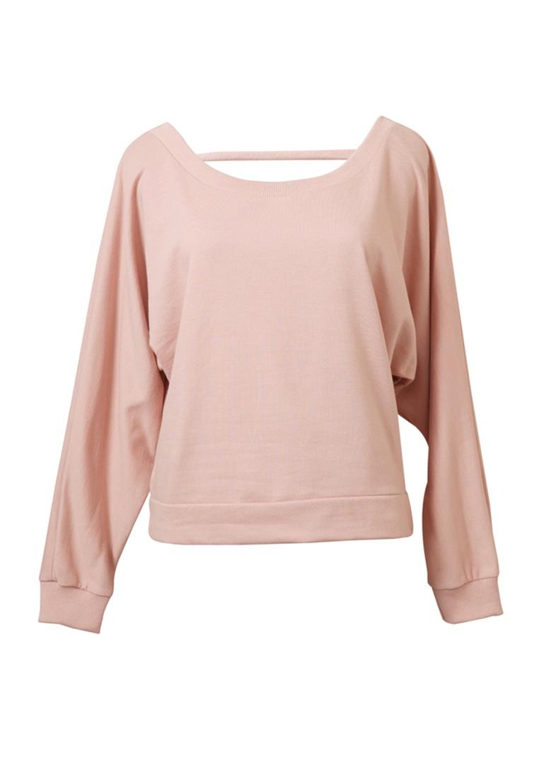 Pink Sweatshirt Long Basic Sleeve Tokichoi Ribbon with Detail pEAZ0awqZ