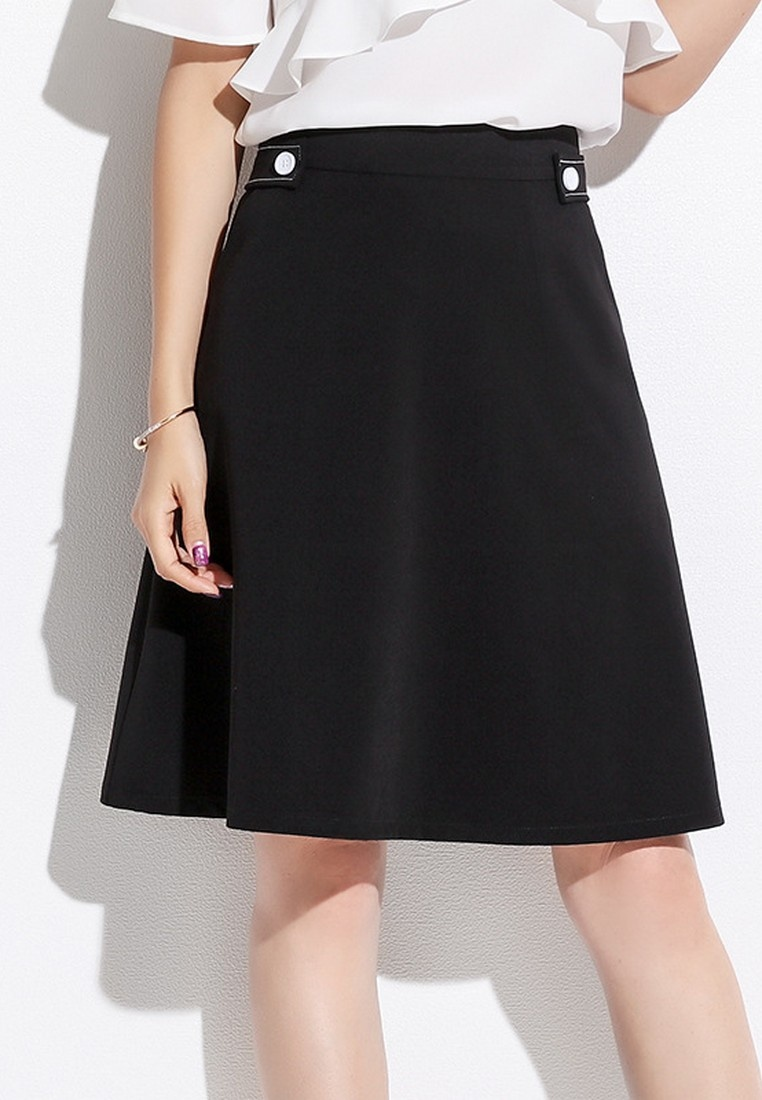 Summer Fashion Style Korean Lady Mini LYCKA Line Spring Skirt A Black Black wtXS5B