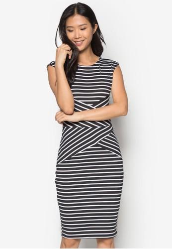 條紋緊身連身裙, 服esprit台灣網頁飾, 洋裝