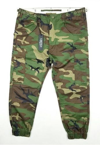 L.I.M.I.T.E green and multi Printed Twill Chino Joggers Pants LI425AA0FCJ3SG_1