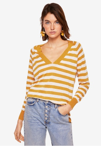 Mango yellow Striped Linen Sweater 1C1BDAAE45CF10GS_1