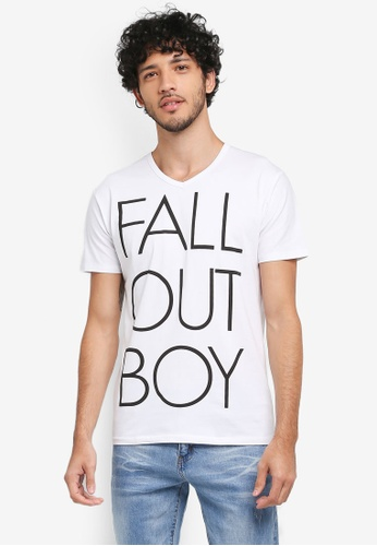 Fidelio white Fall Out Boy Graphic Printed Round Neck T-Shirt D206EAA9EC494EGS_1