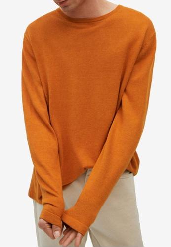 MANGO Man 橘色 Fine-Knit Linen Sweater 15140AAC5772A1GS_1