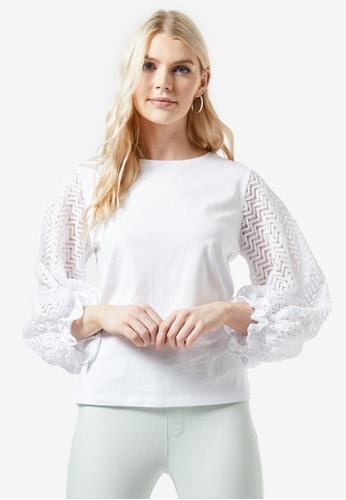 Dorothy Perkins Black White Spot Lace Insert Shoulder Top Blouse Size 10-20