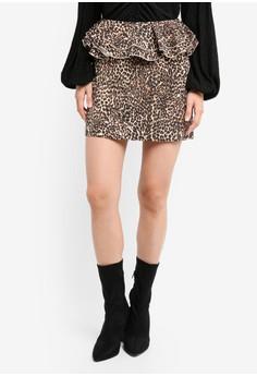 Leopard Ruffle Mini Skirt