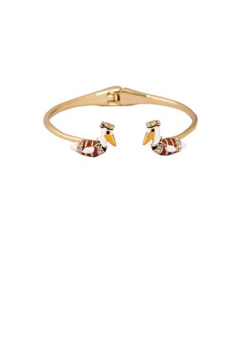 Glamorousky white Fashion and Elegant Plated Gold Enamel Bird Bracelet with Cubic Zirconia ED039AC8CE9E05GS_1