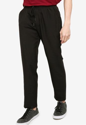 ZALORA BASICS black Basic Skinny Drawcord Waist Trousers FE533AA912AAD4GS_1