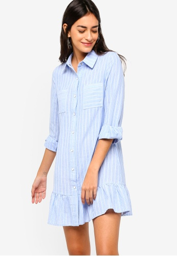 ZALORA blue Ruffles Hem Shirt Dress E21C2AAA98D572GS_1