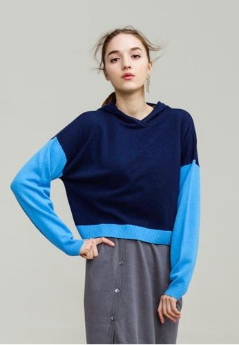 KLAPS navy Colorblock Cropped Hoodie 75984AA6A0EAC6GS_1