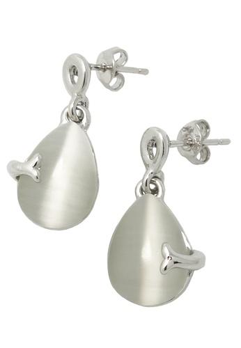 Jaysa Collection silver Fishtail Teardrop Earrings JA875AC0FJTXSG_1