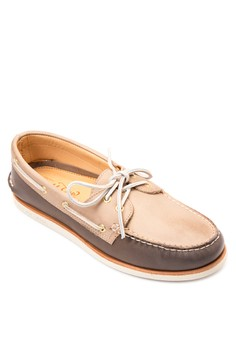 Gold A/O Wedge Boat Shoes