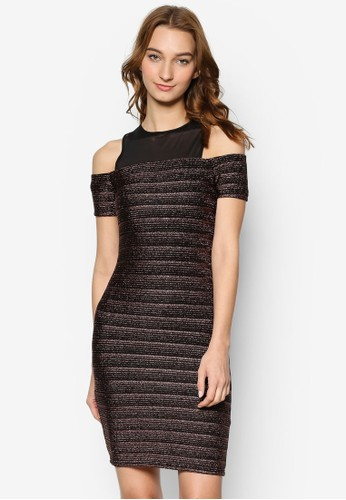 Lurex 亮紋挖肩短袖緊連身裙, 服飾,zalora退貨 洋裝