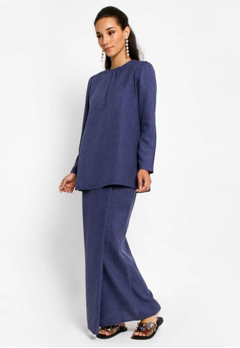 Kurung Lamia in Navy Blue from BETTY HARDY in Blue