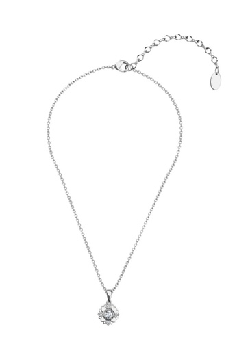 Her Jewellery silver Petal Love Pendant (White Gold) - Made with premium grade crystals from Austria FE6CEACC570114GS_1