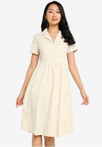 ZALORA BASICS beige Revere Collar Fit & Flare Shirt Dress 130E3AA5967860GS_1