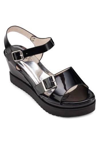 扣esprit 內衣環踝帶厚底涼鞋, 女鞋, 返璞歸真
