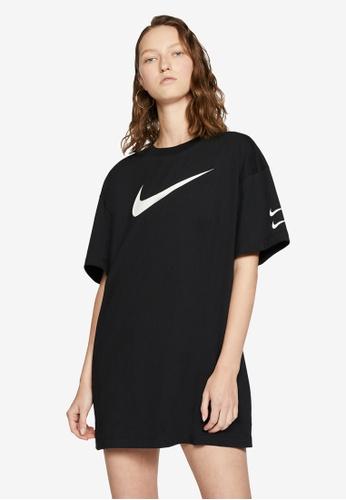 Nike black Swoosh Women's Short Sleeve Dress 4C2BCAABD061E1GS_1