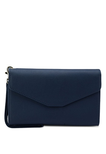Bagstationz blue Bagstationz Faux Textured Leather Multipurpose Travel Large Clutch BA607AC23IRSMY_1