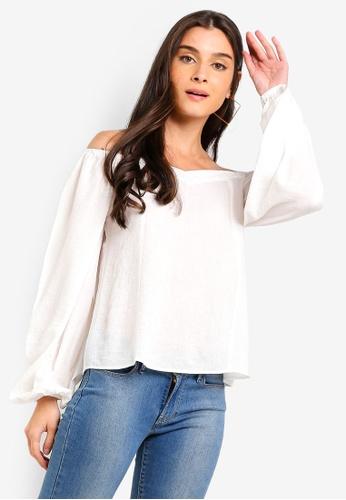 ZALORA white Sweetheart Puffed Sleeves Top 8D395AA603F766GS_1