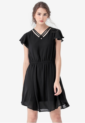 Kodz black Flutter Sleeve Dress 4FCC5AAC681AEFGS_1