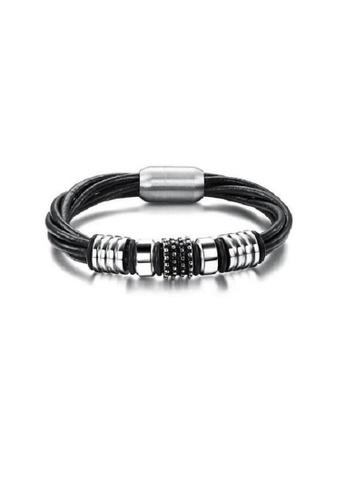 ADORA Stainless Steel Leather Bracelet AD365AC2V3CJHK_1