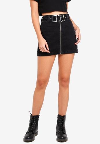 780e141a6e TOPSHOP black Petite Double Buckle Denim Skirt A9837AA608CAFCGS 1