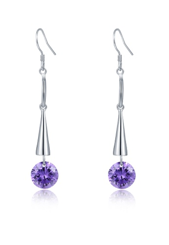 MBLife silver 925 Sterling Silver Cone Purple CZ Earrings 8C097ACEE6E1D2GS_1