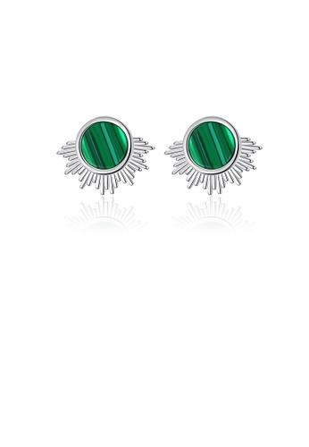 Glamorousky silver 925 Sterling Silver Simple Fashion Geometric Round Imitation Malachite Stud Earrings A4E95ACB55B84DGS_1