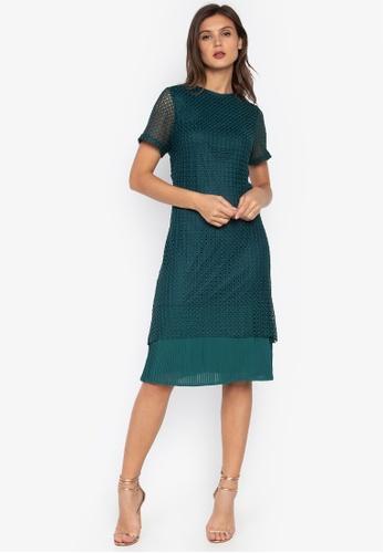 CIGNAL green Lace Dress w/ Pleated Bottom 19814AA969BE5DGS_1