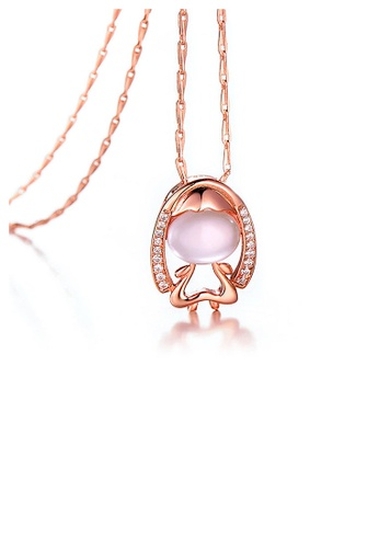 Glamorousky pink Plated Rose Gold Twelve Horoscope Virgo Pendant with White Cubic Zircon and Necklace 0B36CAC3E880CCGS_1