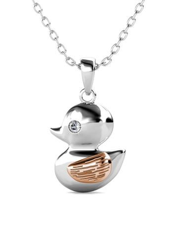 Her Jewellery silver Swarovski® Crystals - Little Duck Pendant (18K White Gold Plated) Her Jewellery C7360ACCF8F656GS_1