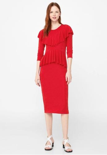 Mango red Ruffled Midi Dress MA193AA66CAJMY_1