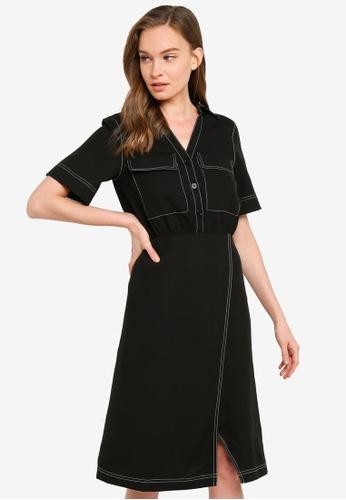 Urban Revivo 黑色 小袋 襯衫洋裝 40A7AAAA180735GS_1