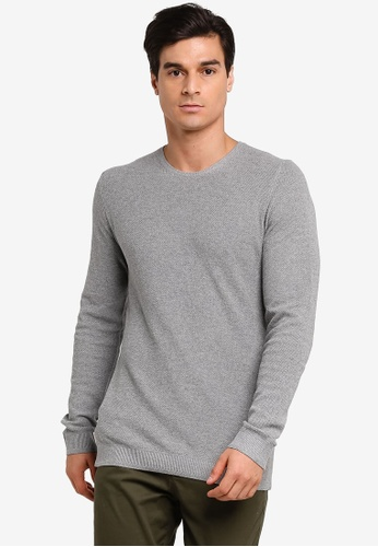 Selected Homme grey Dante Camp Crew Neck T-Shirt 1EE59AAACAC6D9GS_1
