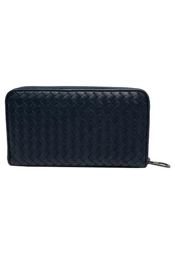BOTTEGA VENETA blue Bottega Veneta Intrecciato Zip Around Wallet in Dark Blue 279A3AC6B09AD1GS_1