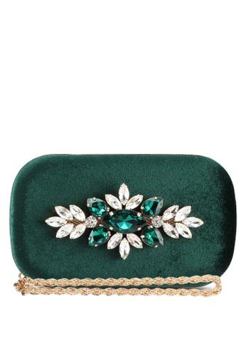 Zalia green Small Box Clutch With Gem Stones A3A55AC4978DBAGS_1