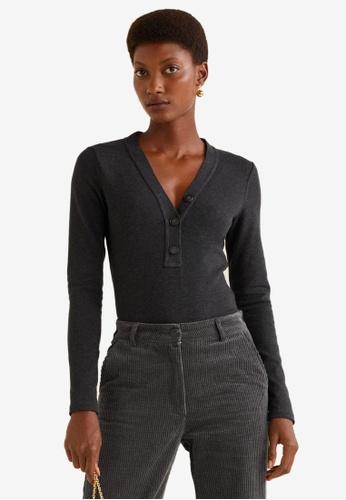 Mango grey Buttoned Cotton T-Shirt A7CD7AAF22FD1FGS_1