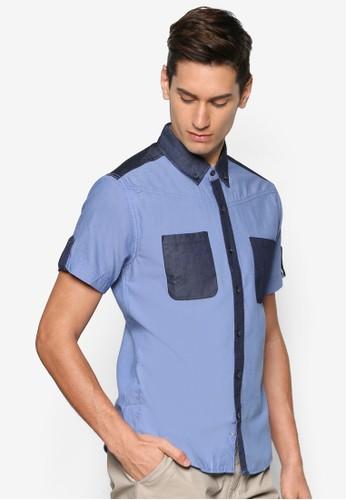 拼色短袖襯衫,esprit taiwan 服飾, 襯衫