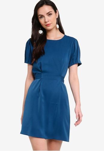 ZALORA WORK blue Tie Back Pleated Sleeve Dress 3F9D3AA7533C0FGS_1