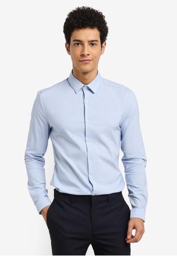 Topman blue Muscle Fit Textured Shirt C8D88AA908BB9FGS_1