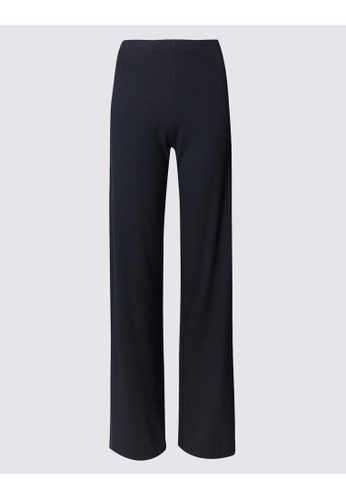 MARKS & SPENCER blue M&S Jersey Wide Leg Trousers 5A0BCAACFE5E1AGS_1
