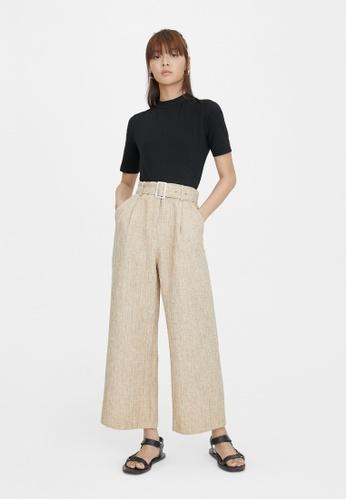 Pomelo beige Wide Leg Belted Pants - Beige A6935AAB9D0E70GS_1