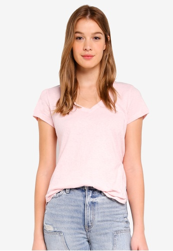 Abercrombie & Fitch pink Icon V-Neck Tee 46404AA831E597GS_1