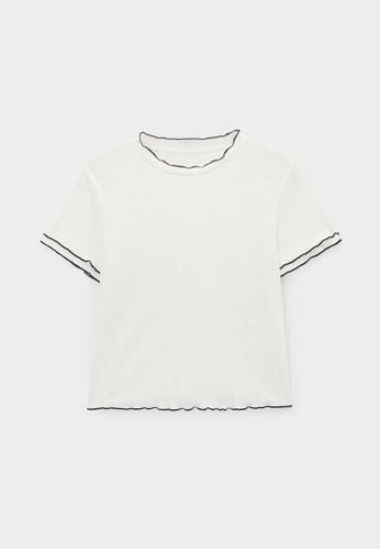 Pomelo white Frill Neck Ribbed Tee - White 1819AAAF6D8630GS_1