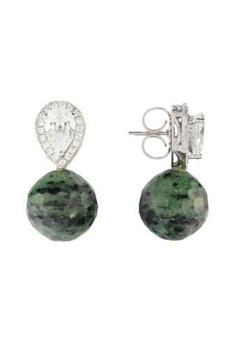Celline Silver green and multi Teardrop Ruby Zoisite with Cubic Zirconia A3723AC6BD995BGS_1