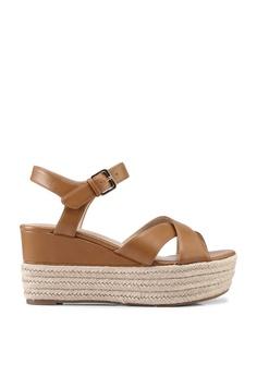 dc1ae694f ALDO brown Vilmaclya Criss Cross Ankle Strap Wedge Sandals  90CB2SH90391CCGS_1